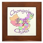 Chongqing China Map Framed Tile