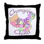 Chongqing China Map Throw Pillow