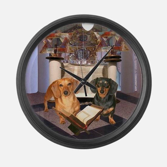 Jewish Dachshunds Large Wall Clock