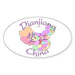 Dianjiang China Map Oval Sticker (10 pk)