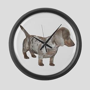 Speckled Dachshund Dog Large Wall Clock