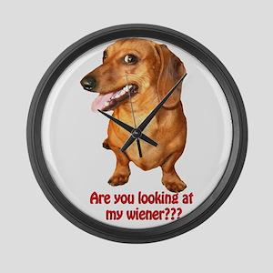 Looking at My Wiener Dachshun Large Wall Clock