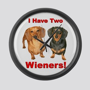 Two Wieners Large Wall Clock
