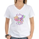 Fuling China Map Women's V-Neck T-Shirt