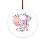 Wanzhou China Map Ornament (Round)