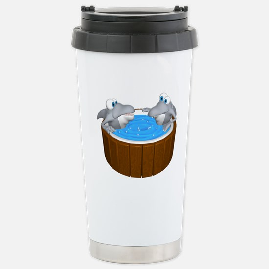 Sharks in a Hot Tub Stainless Steel Travel Mug