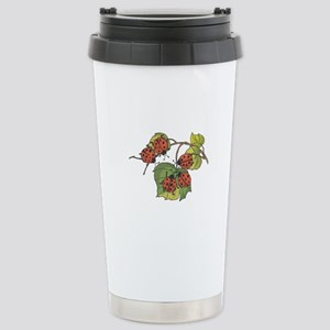 Ladybugs on Leaves Stainless Steel Travel Mug