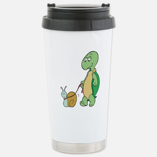 Turtle With Pet Snail Stainless Steel Travel Mug