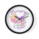 Zhongxian China Map Wall Clock