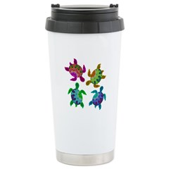 Multi Painted Turtles Stainless Steel Travel Mug
