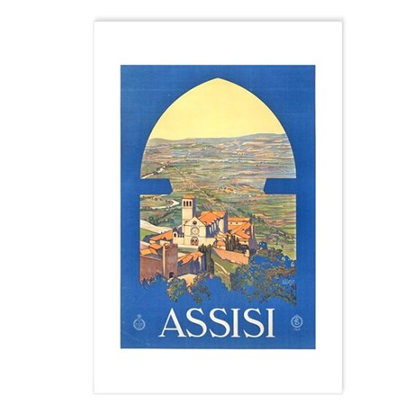 Assisi Travel Poster Postcards (Package of 8)