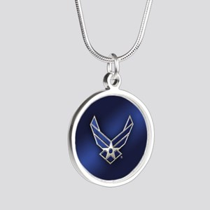 U.S. Air Force Logo Detailed Silver Round Necklace