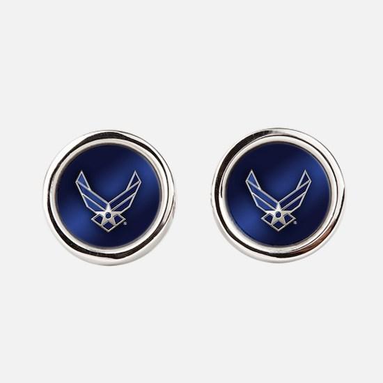 U.S. Air Force Logo Detailed Round Cufflinks