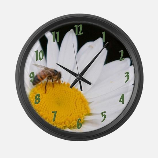 Bee on Shasta Daisy Large Wall Clock