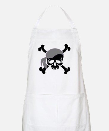 Skull and Crossbones II Gray BBQ Apron