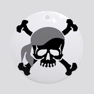 Skull and Crossbones II Gray Ornament (Round)
