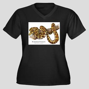 Burmese Python Women's Plus Size V-Neck Dark T-Shi