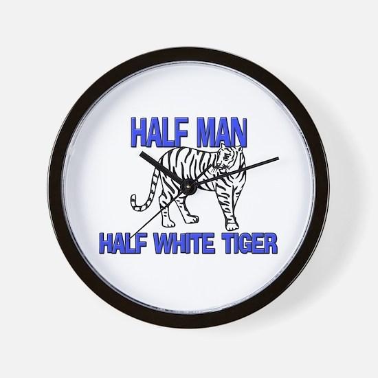 Half Man Half White Tiger Wall Clock