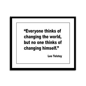 Tolstoy Change Quote Framed Panel Print