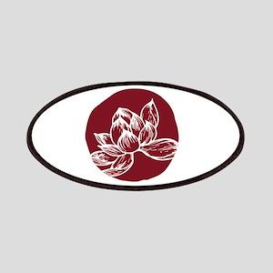 Awake DBT white lotus on burgundy Patch