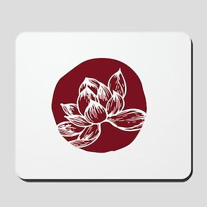Awake DBT white lotus on burgundy Mousepad