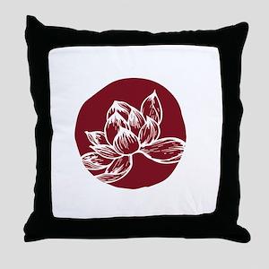 Awake DBT white lotus on burgundy Throw Pillow