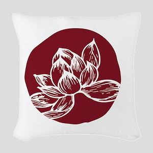 Awake DBT white lotus on burgundy Woven Throw Pill