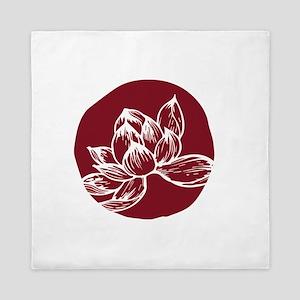Awake DBT white lotus on burgundy Queen Duvet