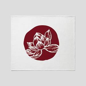 Awake DBT white lotus on burgundy Throw Blanket