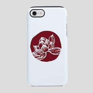 Awake DBT white lotus on burgundy iPhone 8/7 Tough