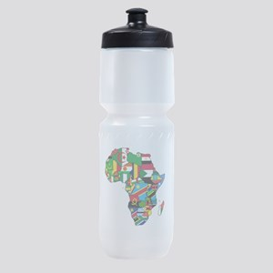Flag Map Of Africa Sports Bottle