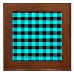Blue Optical Illusion Framed Tile