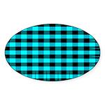 Blue Optical Illusion Oval Sticker