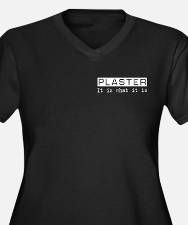 Plaster Is Women's Plus Size V-Neck Dark T-Shirt