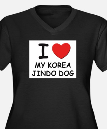 I love MY KOREA JINDO DOG Women's Plus Size V-Neck
