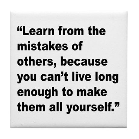 Learn from Mistakes Quote Tile Coaster