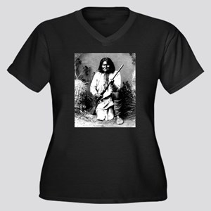 Geronimo Women's Plus Size V-Neck Dark T-Shirt