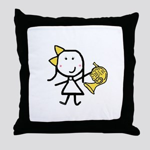 Girl & French Horn Throw Pillow