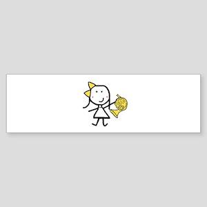 Girl & French Horn Bumper Sticker