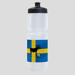 Swedish Soccer Elk Flag Sports Bottle