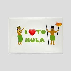 I Love To Hula Rectangle Magnet