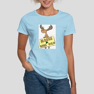 Moose Gone Wild Women's Pink T-Shirt