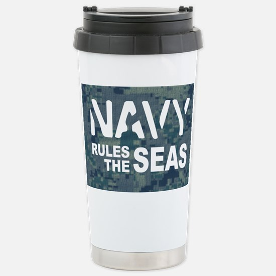 Navy Rules Blue Camo Stainless Steel Travel Mug