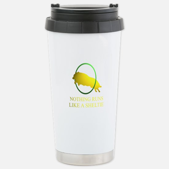 Running Sheltie Stainless Steel Travel Mug