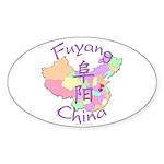 Fuyang China Map Oval Sticker (10 pk)