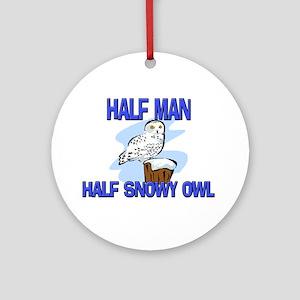 Half Man Half Snowy Owl Ornament (Round)