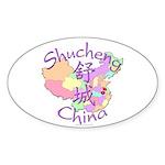Shucheng China Map Oval Sticker (10 pk)