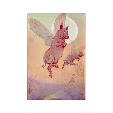 WHEN PIGS FLY IN WONDERLAND Rectangle Magnet