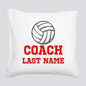 Volleyball Coach Square Canvas Pillow
