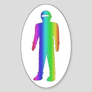 Gay Pride Robot Oval Sticker